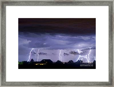 Lightning Thunderstorm July 12 2011 Strikes Over The City Framed Print