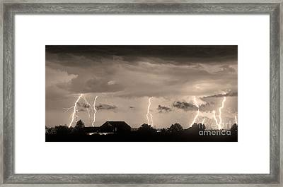 Lightning Thunderstorm July 12 2011 Strikes Over The City Sepia Framed Print by James BO  Insogna