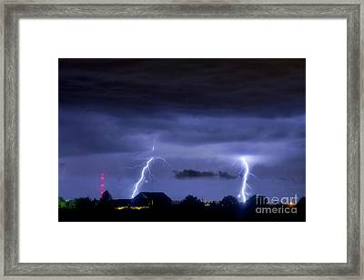Lightning Thunderstorm July 12 2011 Two Strikes Over The City Framed Print