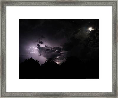 Lightning With Stars And Moon  Framed Print by Todd Krasovetz