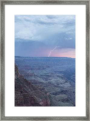 Lightning With The Grand Canyon Sunset Framed Print by John McGraw