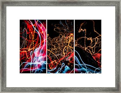 Lightpainting Triptych Wall Art Print Photograph 5 Framed Print