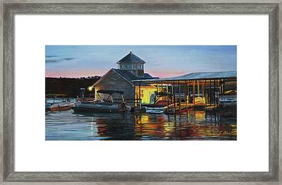 Lights At The Cliffs Marina Framed Print