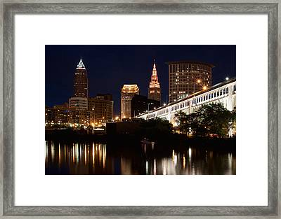 Lights In Cleveland Ohio Framed Print