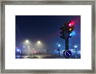 Lights In The Mist Framed Print