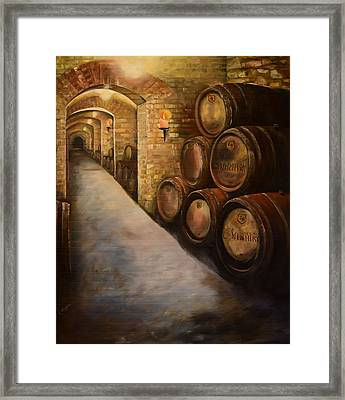 Lights In The Wine Cellar - Chateau Meichtry Vineyard Framed Print