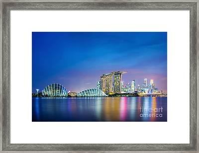 Lights Of Singapore Framed Print