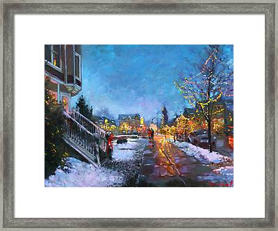 Lights On Elmwood Ave Framed Print
