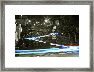 Lights On Lombard Black And White Framed Print by Bryant Coffey