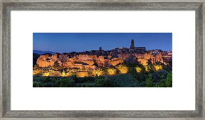 Lights On Pitigliano Framed Print by Michael Blanchette