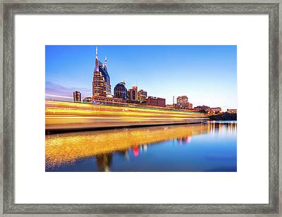 Lights On The Cumberland River - Nashville Tennessee Skyline  Framed Print
