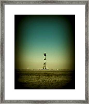 Ligthhouse At Morris Island Sc Framed Print by Susanne Van Hulst