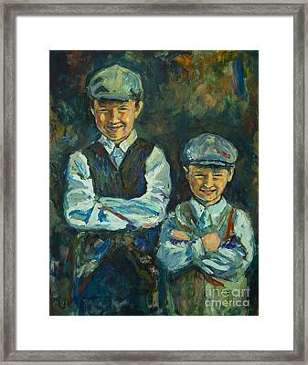 Framed Print featuring the painting Durham Boys by Angelique Bowman