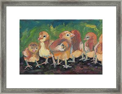 Framed Print featuring the painting Lil' Chicks by Susan  Spohn