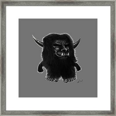 Lil Fuzzy Monster Black Ver. Framed Print by Winston Wesley Art