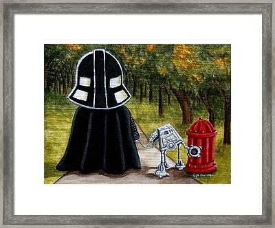Lil Vader Walking His At At Framed Print