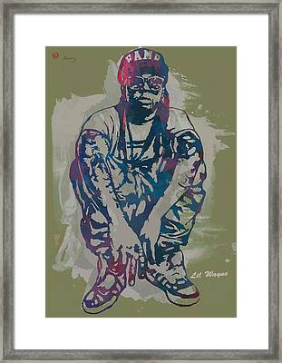 Lil Wayne Pop Stylised Art Poster Framed Print by Kim Wang