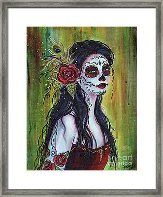 Lila Day Of The Dead Art Framed Print by Renee Lavoie