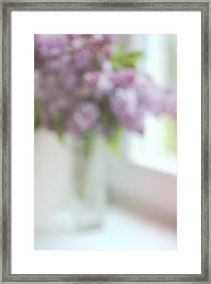 Lilac At The Window. Impressionism Framed Print by Jenny Rainbow