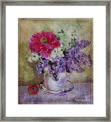 Framed Print featuring the digital art Lilac Bouquet by Alexis Rotella