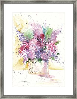 Framed Print featuring the painting Lilac Explosion by Sandra Strohschein