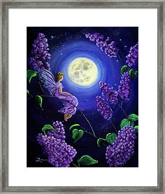Lilac Fairy Bathed In Moonlight Framed Print by Laura Iverson
