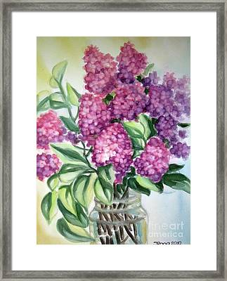 Lilac On The Kitchen Table Framed Print
