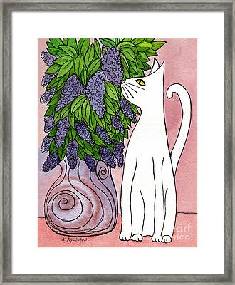 Lilac Sniffing Cat Framed Print by Norma Appleton