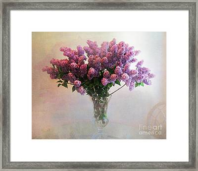 Lilac Vase On Table Framed Print