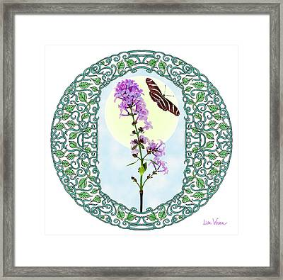 Framed Print featuring the digital art Lilac With Butterfly by Lise Winne