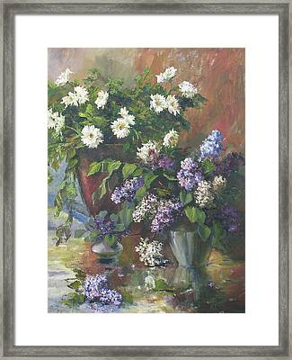Lilacs And Asters Framed Print by Tigran Ghulyan