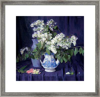 Lilacs And Blue Framed Print