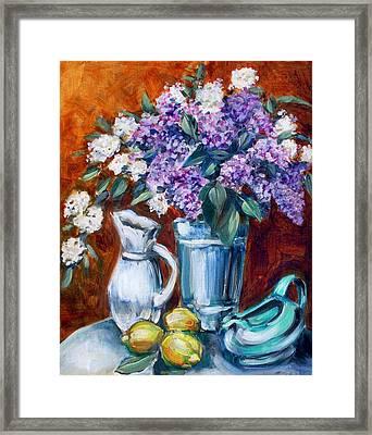 Lilacs And Lemons Framed Print by Sheila Tajima
