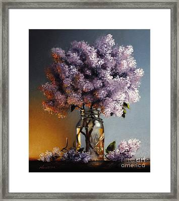 Lilacs In A Ball Jar Framed Print by Larry Preston