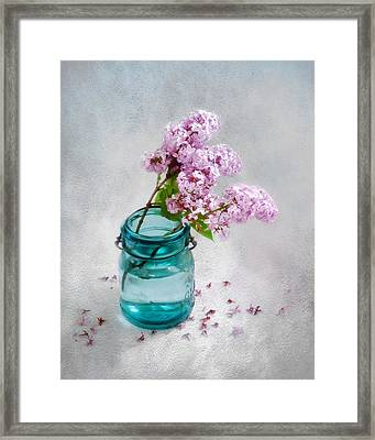 Framed Print featuring the photograph Lilacs In A Glass Jar Still Life by Louise Kumpf