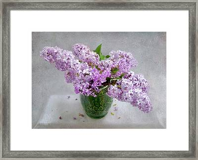 Lilacs In A Green Tankard Still Life Framed Print