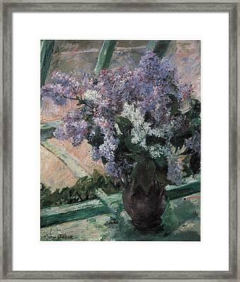 Lilacs In A Window Framed Print by Mary Cassatt