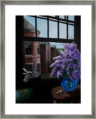 Lilacs In Blue Vase Framed Print by Kathleen Romana