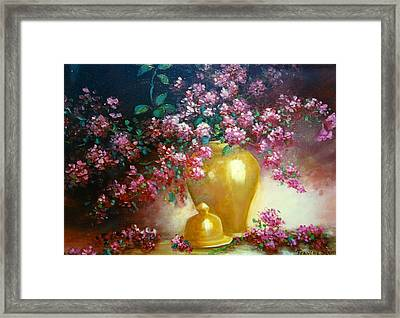 Lilacs In Gold Vase Framed Print by Jeanene Stein