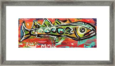 Lil'funky Folk Fish Number Nineteen Framed Print by Robert Wolverton Jr