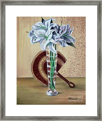 Lilies And Fan Framed Print by Marcella Muhammad