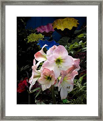 Lilies And Glass Framed Print