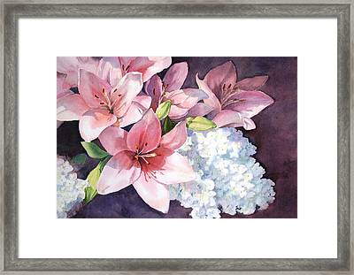 Lilies And Hydrangeas - II Framed Print by Vikki Bouffard