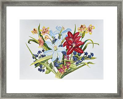 Lilies And Orchids Framed Print