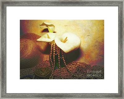 Lilies And Pearls Framed Print by KaFra Art