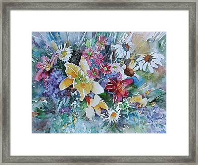 Lilies Daisies Flowers Bouquet Framed Print by Reveille Kennedy