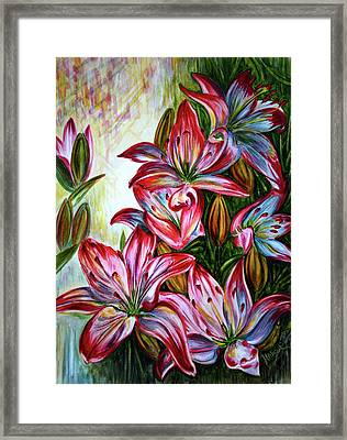 Framed Print featuring the painting Lilies by Harsh Malik
