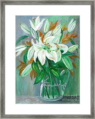 Lilies In A Glass Vase - Painting Framed Print by Veronica Rickard