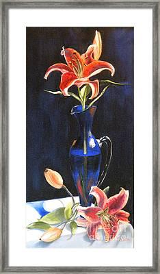 Lilies In Cobalt Framed Print by Susan A Becker