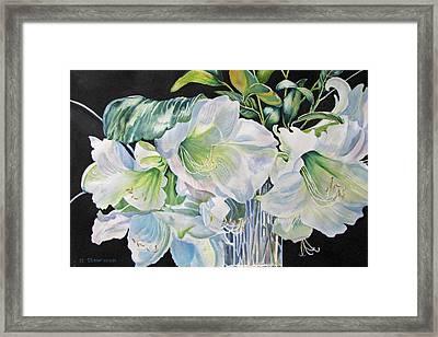 Lilies-in-milan Framed Print by Nancy Newman